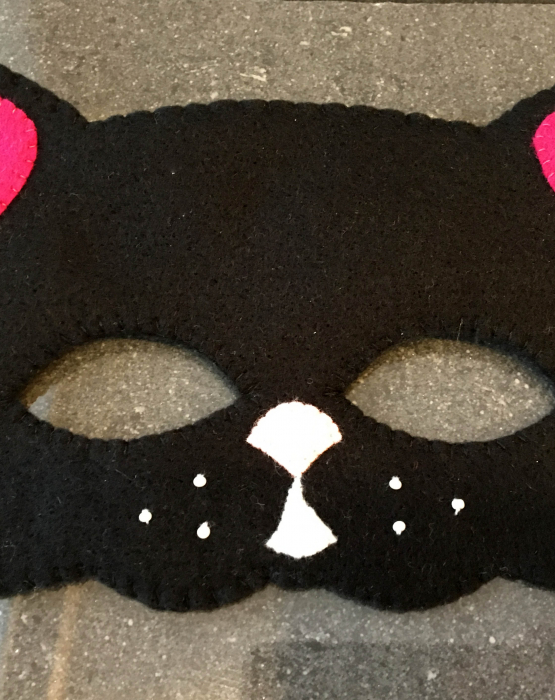 """Filca maska """"Kaķis"""" ar rozā austiņām"""