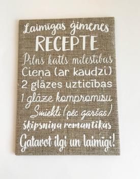 """Kanva """"Laimīgas ģimenes recepte"""""""