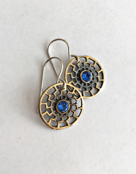 "Bronze earrings ""Runic signs"" with blue crystal"